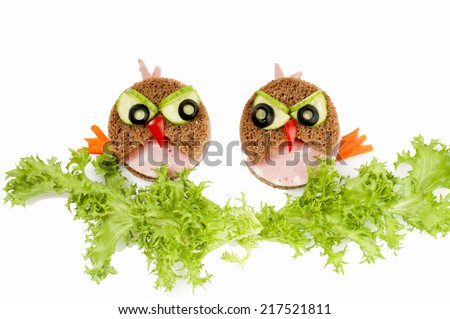 Two funny  sandwich for child - isolated on white background. - stock photo