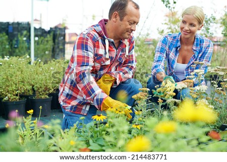 Two gardeners working on farm in the countryside - stock photo