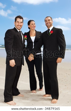 Two gay getting men getting married on a beach - stock photo