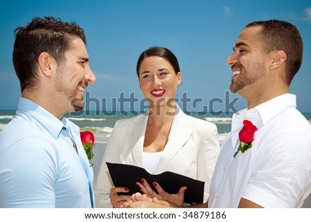 Two gay man in wedding ceremony - stock photo