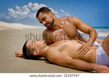 Two gay men at the beach