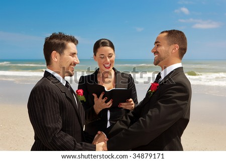 Two gay men during wedding ceremony - stock photo