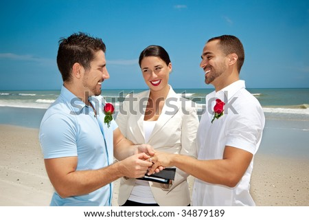 Two gay men in wedding ceremony - stock photo
