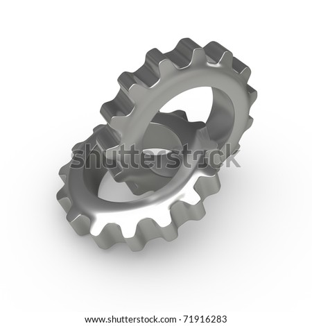 Two gears overlapping - stock photo