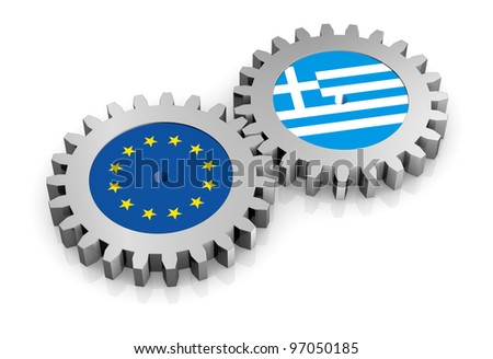 two gears with the flags of europe and greece (3d render) - stock photo