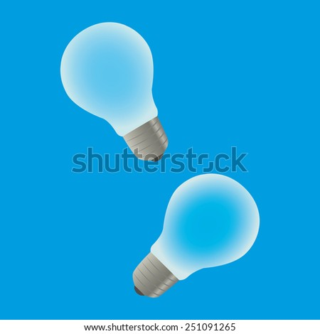 Two generic light bulbs on blue background - stock photo