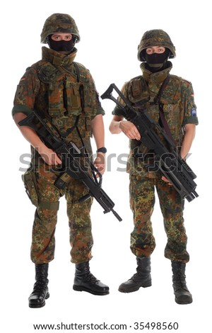 Two german soldiers with the weapon. - stock photo
