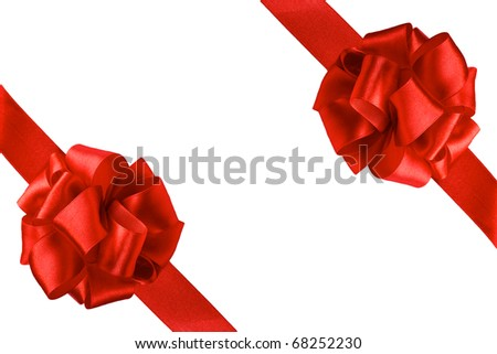 two gift bows, red satin, with two oblique ribbons isolated on white