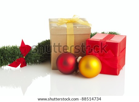 two gift boxes and christmas decoration isolated on white background