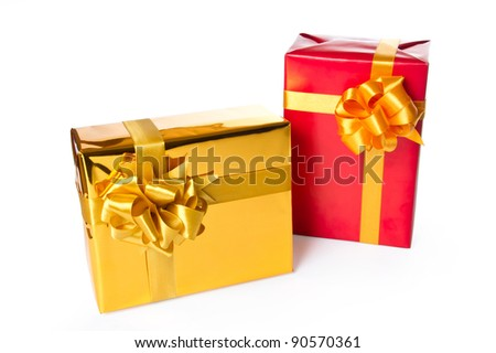 Two gift boxes isolated on white background with clipping path.