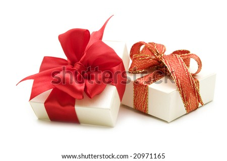 two gift boxes with red ribbon bow