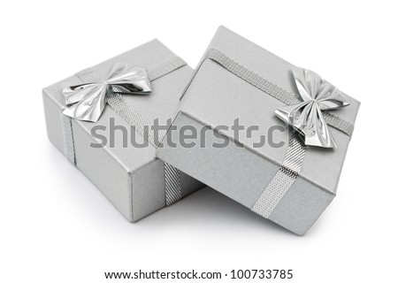 Two gifts isolated on white background - stock photo