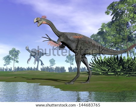 Two gigantoraptor dinosaurs standing in nature with trees next to water