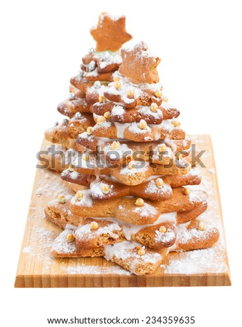 two gingerbread christmas tree isolated on white background - stock photo