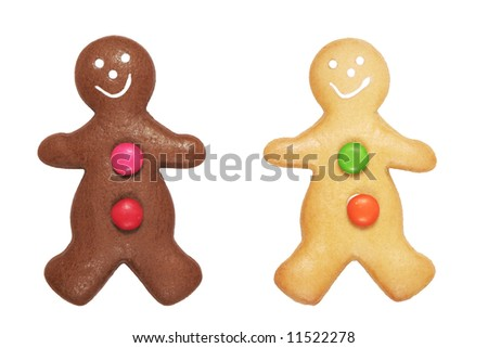 Two Gingerbread Man Cookies On A White Background - stock photo