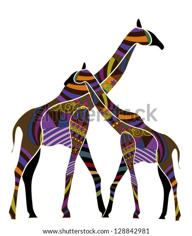 Two giraffes in the ethnic style on a white background - stock photo