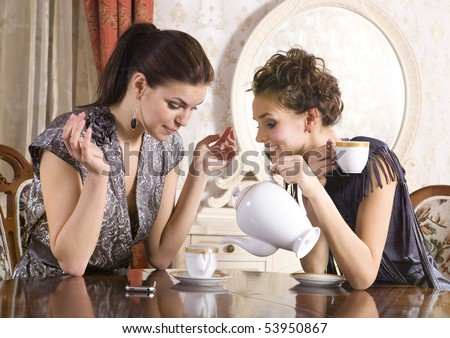 Two girl-friends talk and drink tea in drawing room - stock photo