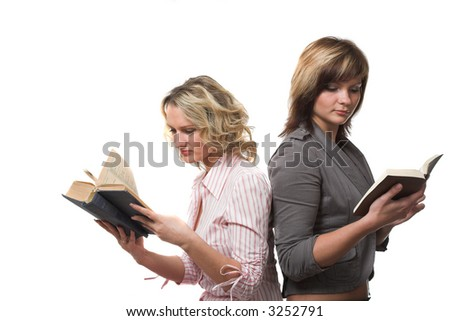 two girl with  books isolated on white