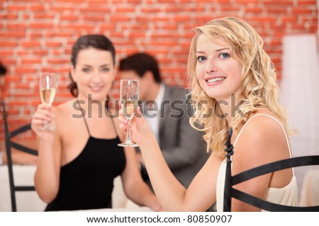 Two girlfriends drinking wine in a restaurant