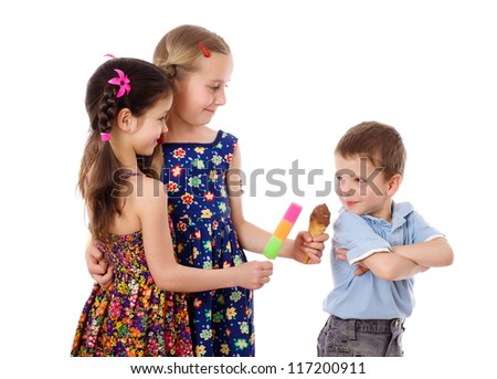 Two girls are offering the ice cream for little boy, isolated on white