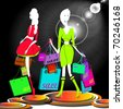 two girls at  shopping - stock photo