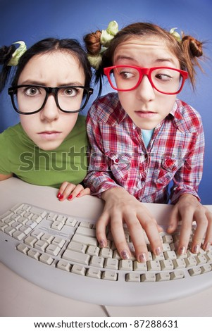 Two girls at the computer, similar available in my portfolio - stock photo