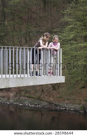 Two girls at the observation platform - stock photo