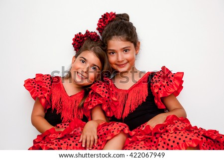 Two girls in gypsy costumes - stock photo