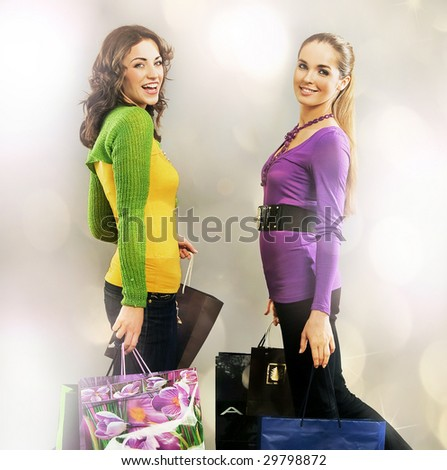 Two girls on shopping trip