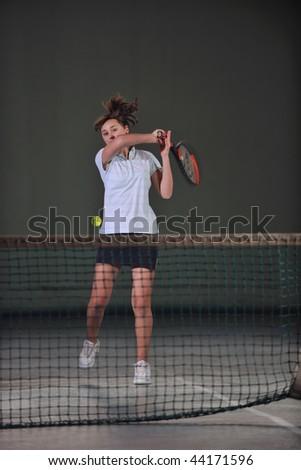 two girls recreating tennis sport - stock photo