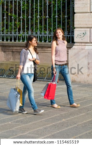 Two Girls Shopping - stock photo