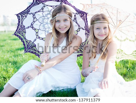 naked girl with umbrella photo