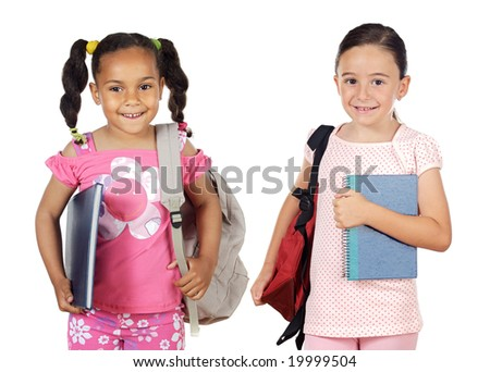 Two girls students returning to school on a white background - stock photo