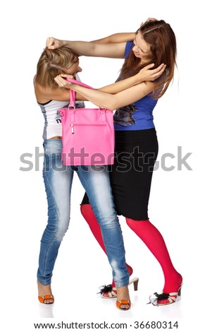 Two girls take away each other a bag. Sale.