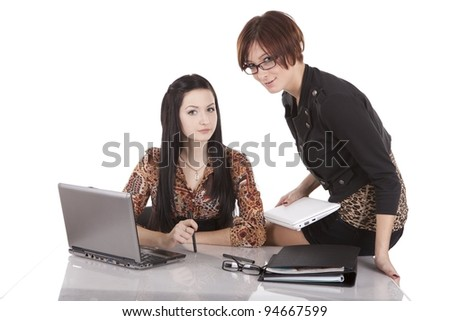 Two girls with a laptop on a white background - stock photo