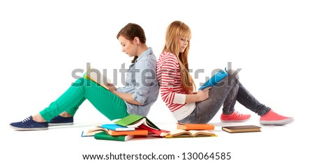 two girls with books - stock photo