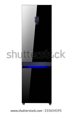 Two glass door shiny black refrigerator isolated on white - stock photo