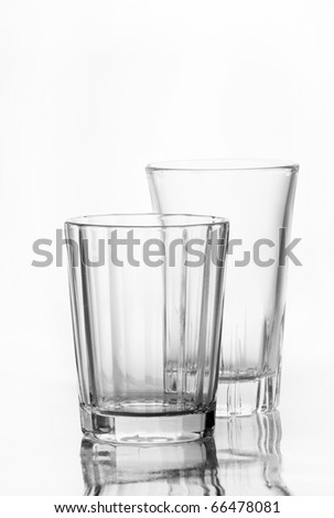 two glass empty on white background