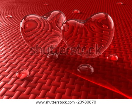 Two glass hearts with water drops - stock photo