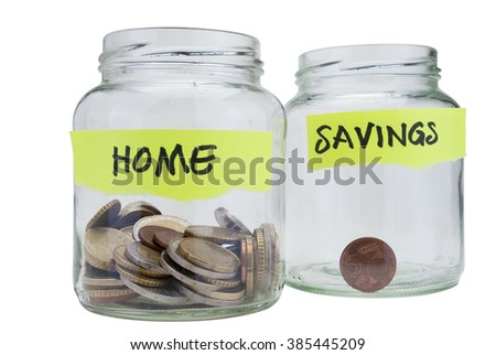 Two glass jars with coins on white background