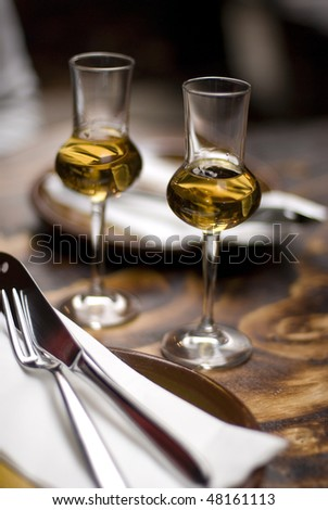 two glass of cognac - stock photo