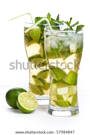 Two glass of iced tea on white background - stock photo