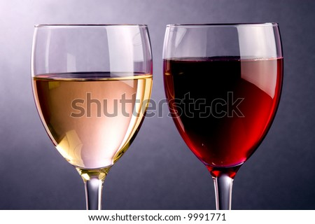 two glass of red and white wine