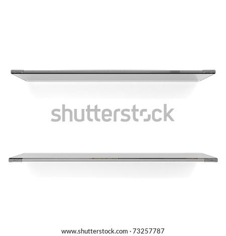 two glass shelfs on white - stock photo