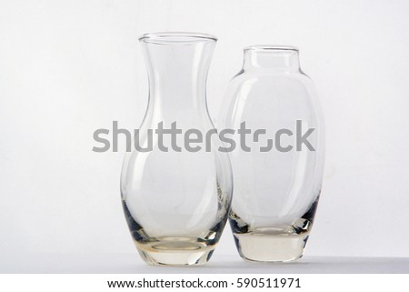 Two Glass Vases Different Shapes Side Stock Photo Royalty Free