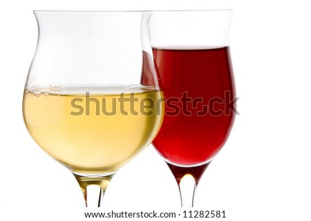 two glass with red wine and white wine