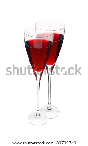 Two glass with red wine isolated on white