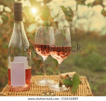 Two glasses and bottle of the rose wine in autumn vineyard. Harvest time - stock photo