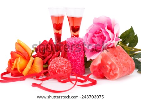 Two glasses, candles and roses  isolated on white background. - stock photo