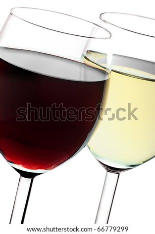 Two glasses closeup with red and white wines